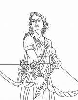 Greek Coloring Pages Mythology Gods Goddess Artemis Bow Goddesses Adult Adults Drawing Greece Athena Print Printable Getcolorings sketch template