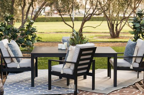 Back Patio Furniture by Modern Aluminum Patio Dining Chair In Black Mathis