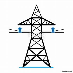 """High voltage power line transmission tower. Electricity ..."