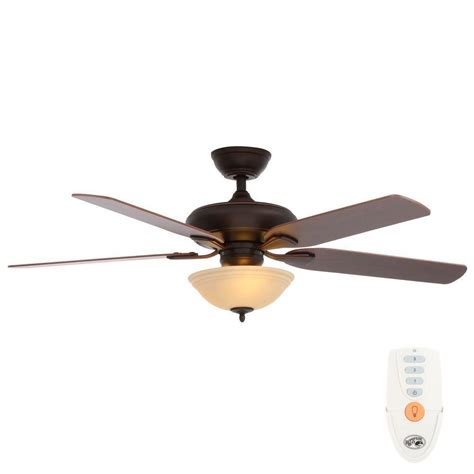 bronze ceiling fan with light and remote hton bay flowe 52 in indoor mediterranean bronze
