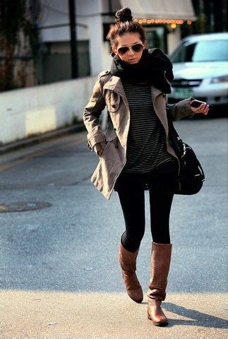 Black Skinny Jeans Riding Boots Striped Tee Trench