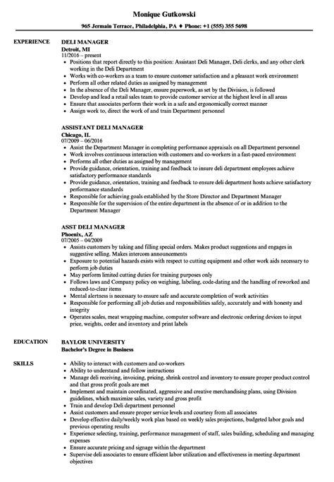 Deli Resume by Deli Description For Resume Bijeefopijburg Nl