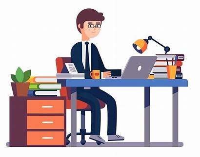 Office Desenho Working Executivo Fazendo Desk Entrepreneur