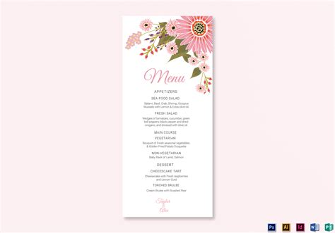 menu card template floral wedding menu card design template in illustrator