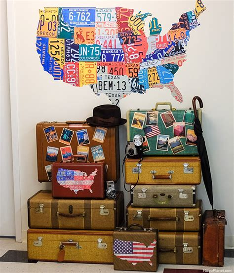 50s decorating ideas decorating luggage with vintage travel stickers