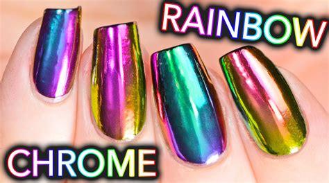 Diy Rainbow Chrome Nails W/ New Multi-chrome Powder! No