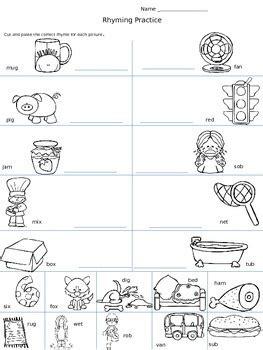 rhyming cut paste worksheet by carla coleman tpt