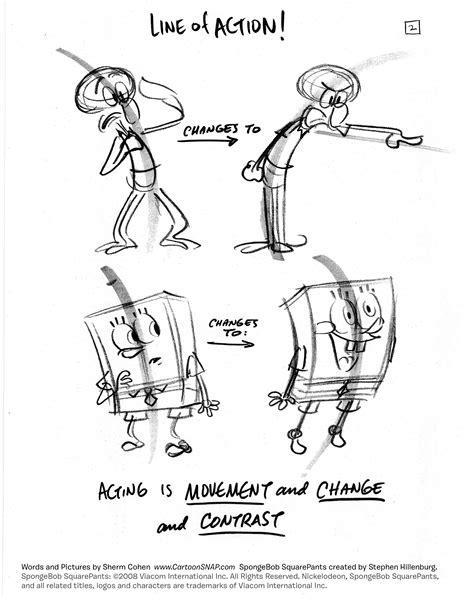cartoon snap   draw lively poses spongebob tip sheets