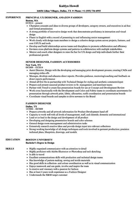 Fashion Designer Resume by Fashion Designer Resume Sles Velvet