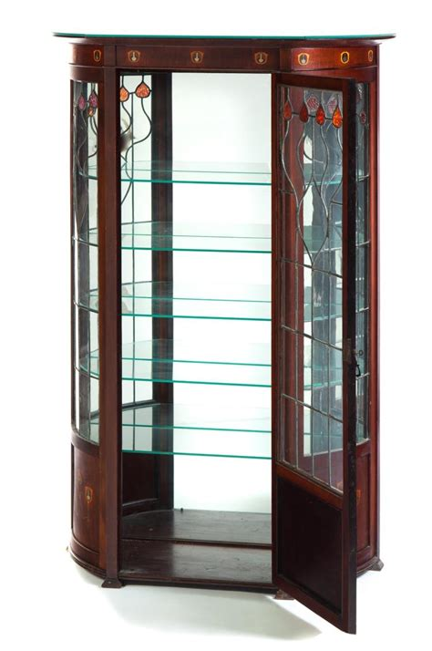 art nouveau china cabinet art nouveau curved glass china cabinet
