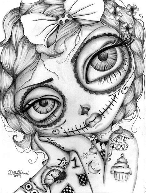Amelia Day of the Dead - Dottie Gleason:   Skull coloring pages, Color, Coloring books