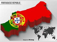 Vector 3D Portugal Map With National Flag Download Free