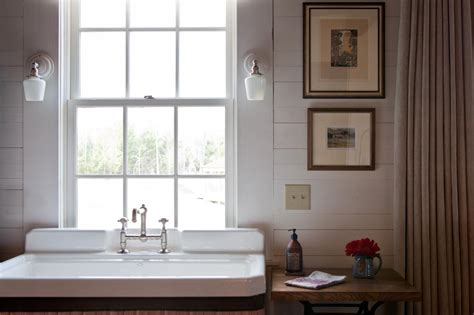 country style powder room  farmhouse sink hgtv