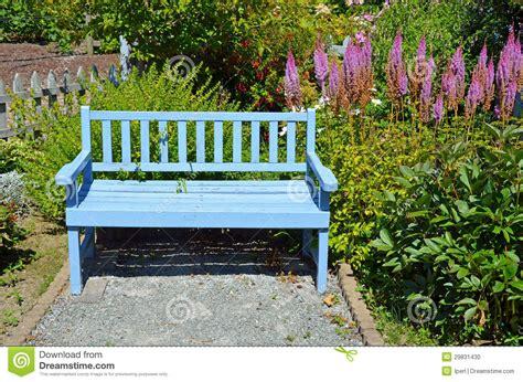 blue garden bench stock photo image  park spring
