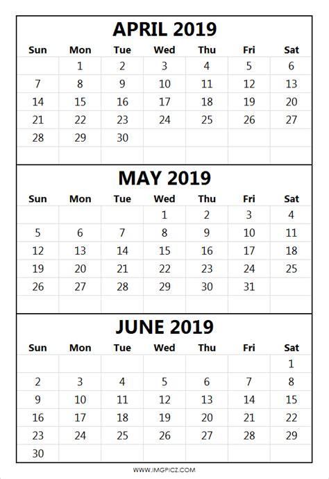 april  june calendar  april  june