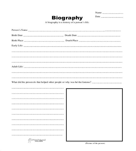 Biografie Vorlage by Senior Thesis Guidelines Union Blank Forms