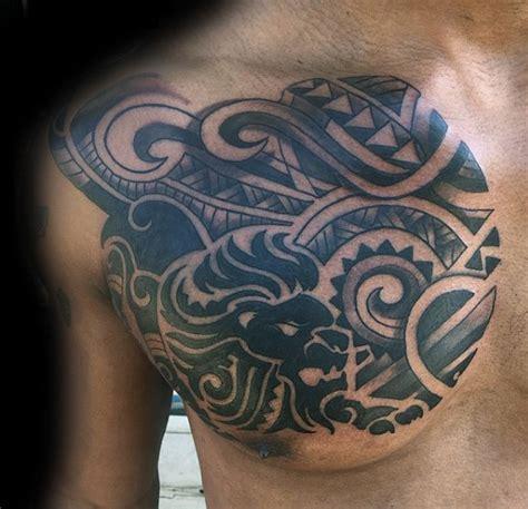 lion tattoo chest tribal