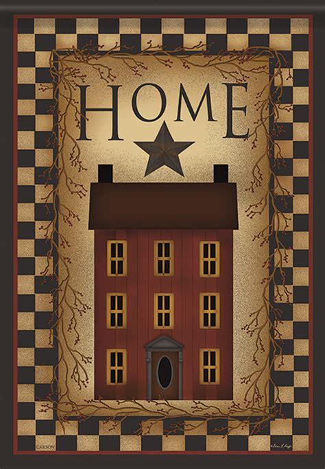 saltbox home summer garden flag house rustic