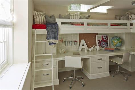 boys loft bed with desk desk under bed transitional 39 s room the coveteur