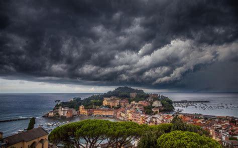 storm   city sestri levante mediterranean italy