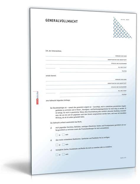 Kaufvertrag Ohne Unterschrift by Generalvollmacht Muster Als Pdf Doc Zum