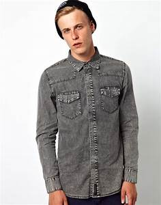 Universal works Afends Denim Shirt with Acid Wash in Gray for Men | Lyst