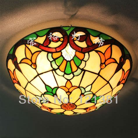 baroque style ceiling light stained glass