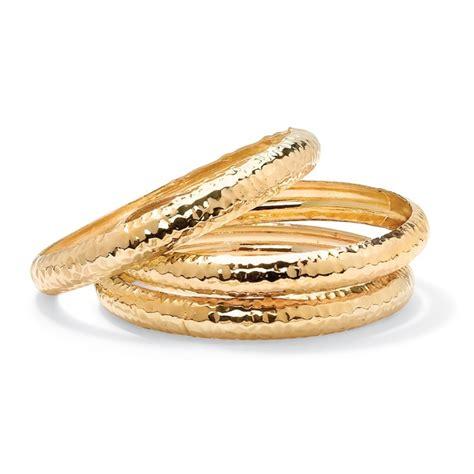 palmbeach 14k goldplated 3 piece hammered bangle bracelet