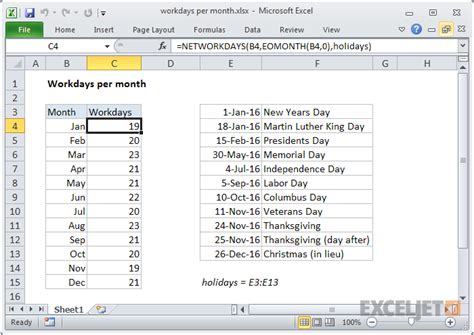 excel formula workdays month exceljet
