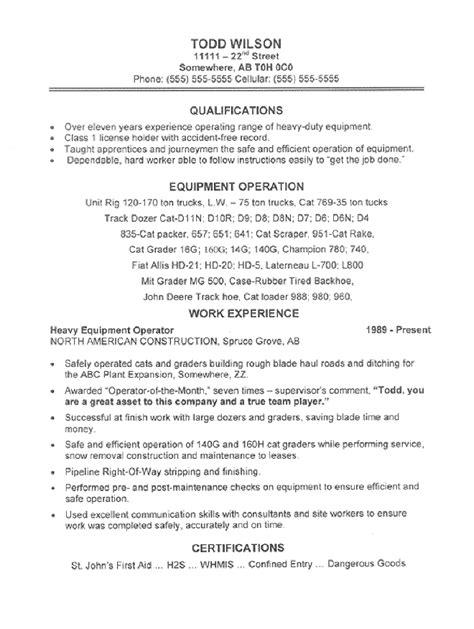 Operator Resume by Resumes For Excavators Equipment Operator Resume Sle