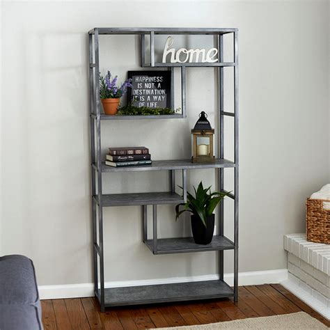 One Shelf Bookcase by Household Essentials Gray Slate Faux Concrete Open