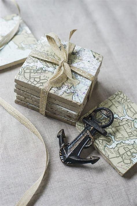 nautical chart coaster diy weddbook