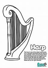 Instruments Coloring Harp String Musical Instrument Educational Resources Kunjungi sketch template