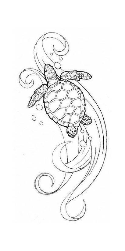 Turtle Sea Tattoo Simple Drawing Hawaiian Tattoos