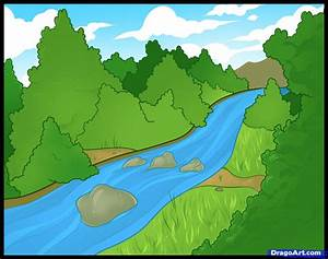 How to Draw a River, Step by Step, Landscapes, Landmarks ...