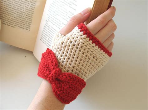fingerless gloves crochet you have to see crochet fingerless gloves ivory red on craftsy