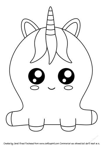cute cartoon unicorn digi stamp cup
