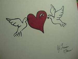 2 Doves 1 Love Drawing by Damian Howell
