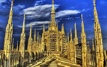Roof Milan Cathedral Wallpapers Backgrounds Italy Duomo