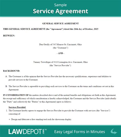 service agreement create   print