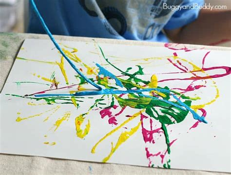 process for preschoolers painting with yarn buggy 854 | s9wm
