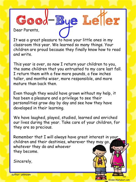 end of the year letter to parents from end of the school year ideas bye letter to parents 22349
