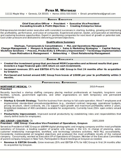 senior executive resume resume sample 5 senior executive resume career resumes