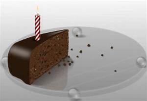 Slice of chocolate cake with a candle Vector | Free Download