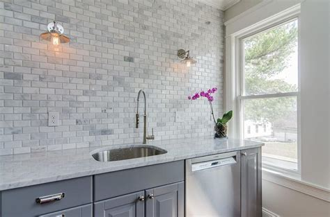 Gray Kitchen Cabinets with Gray Marble Mini Subway Tiles