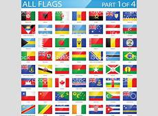 All World Flags Glossy Rectangle Icons Illustration Stock