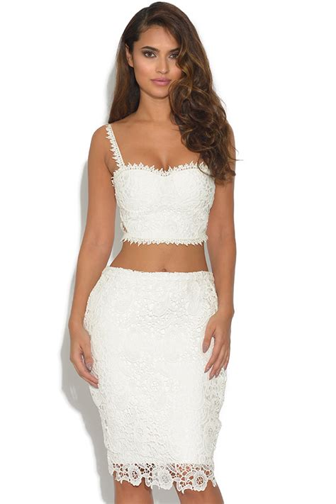 Luxe White Lace Piece Crop Top Bandage Skirt Set