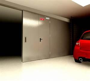 20170408102936 porte de garage coulissante avec portillon With porte de garage coulissante avec porte coupe feu