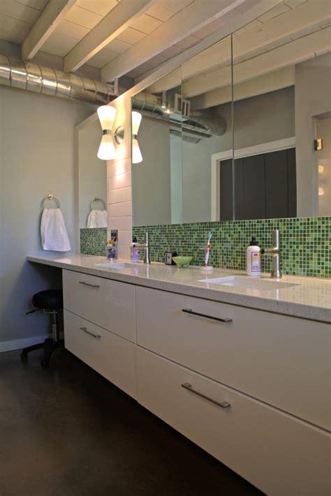 Green Bathroom Backsplash by Neutral Modern Bathroom With Green Tile Backsplash Hgtv