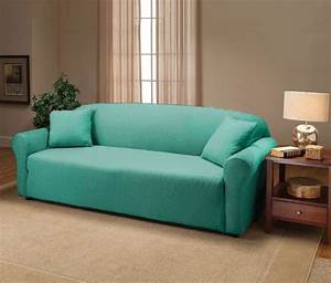 Aqua jersey sofa stretch slipcover couch cover chair for Couch sofa cover slipcover